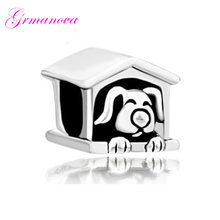 Pet dog house European big hole charm beads female DIY jewelry classic popular amulet Fit Pandora Bracelet Women's DIY Jewelry(China)