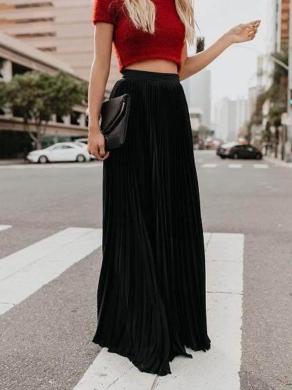 792fa5191 Nuevo 2019 mujeres Boho gasa larga Maxi falda señora playa alta espera  Falda plisada Causal vestido de sol Mulheres hacer Partido Boho praia