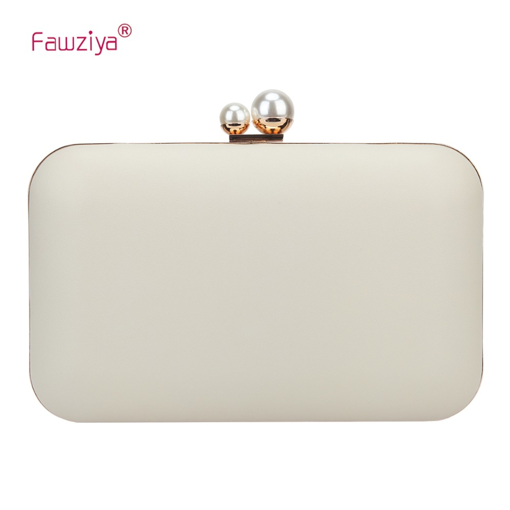 Fawziya Clutch Evening Bags Double Pearl Metal Frame Party Purses For Women