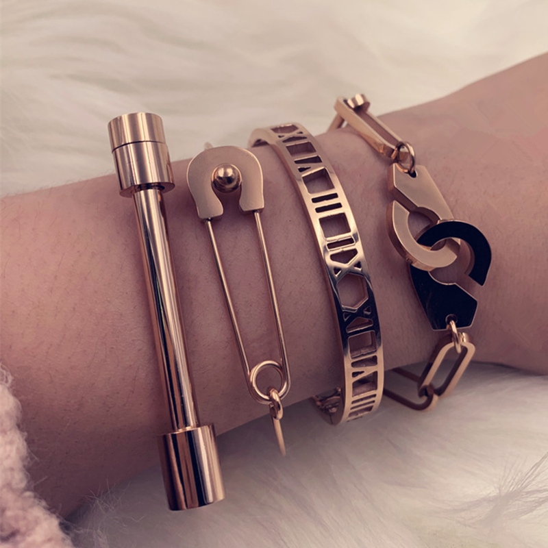 Mavis Hare handcuffs Bangle & Roman numerals & Pin & horseshoe Bracelet Bangle Set Stainless Steel Cuff Open Bracelet Bangle