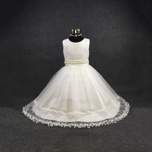 beading flower girls dresses for party and wedding white first communion dresses for girls 2016 customized kids ball gowns