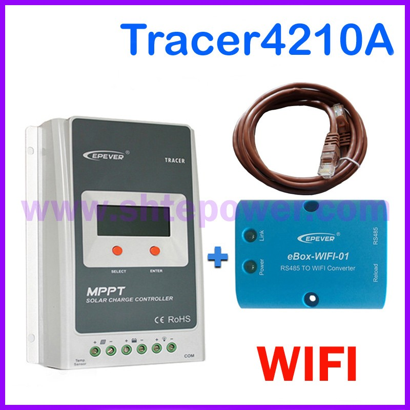 Tracer4210A solar charge controller with ebox WIFI module 40A 12V/24V MPPT solar charge controller for home solar power system 300w solar system from china suit for car ship boat with six pcs of module 50w and mppt solar conroller