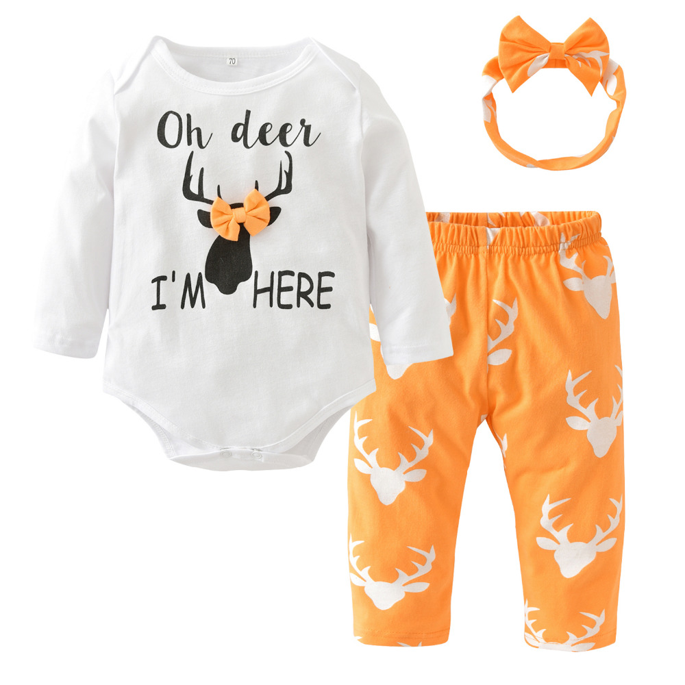 e499142e43b9 Dropwow Fashion Baby Girl Clothes Newborn Baby Girls Christmas Deer ...