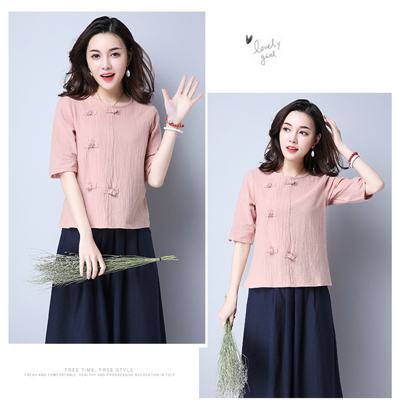 Cotton 2018 Summer Half Sleeve Loose Lady Vintage Women Shirt O Neck Chinese Style Linen T-Shirt Button 3XL 18