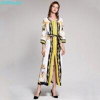 QYFCIOUFU Chất Lượng Cao Vintage Trắng Maxi Dress Womens 3/4 Tay Áo Luxury Runway Beading In Dây Thắt Lưng Boho Loose Dài Dress