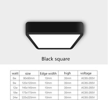1pc black Surface Mounted LED Panel Light bulb Round Square 6w 9w 12w 18w24w LED Ceiling lamp Lights LED Downlight AC110v-220V