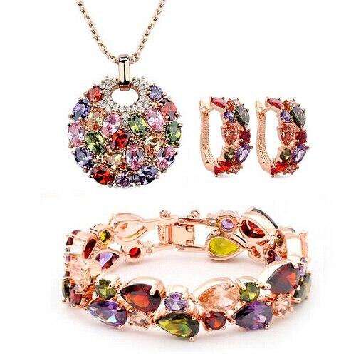 Women Accessories Mona Lisa Gold Color Joyeria Luxury Colorful Zirconia font b Necklace b font Earrings
