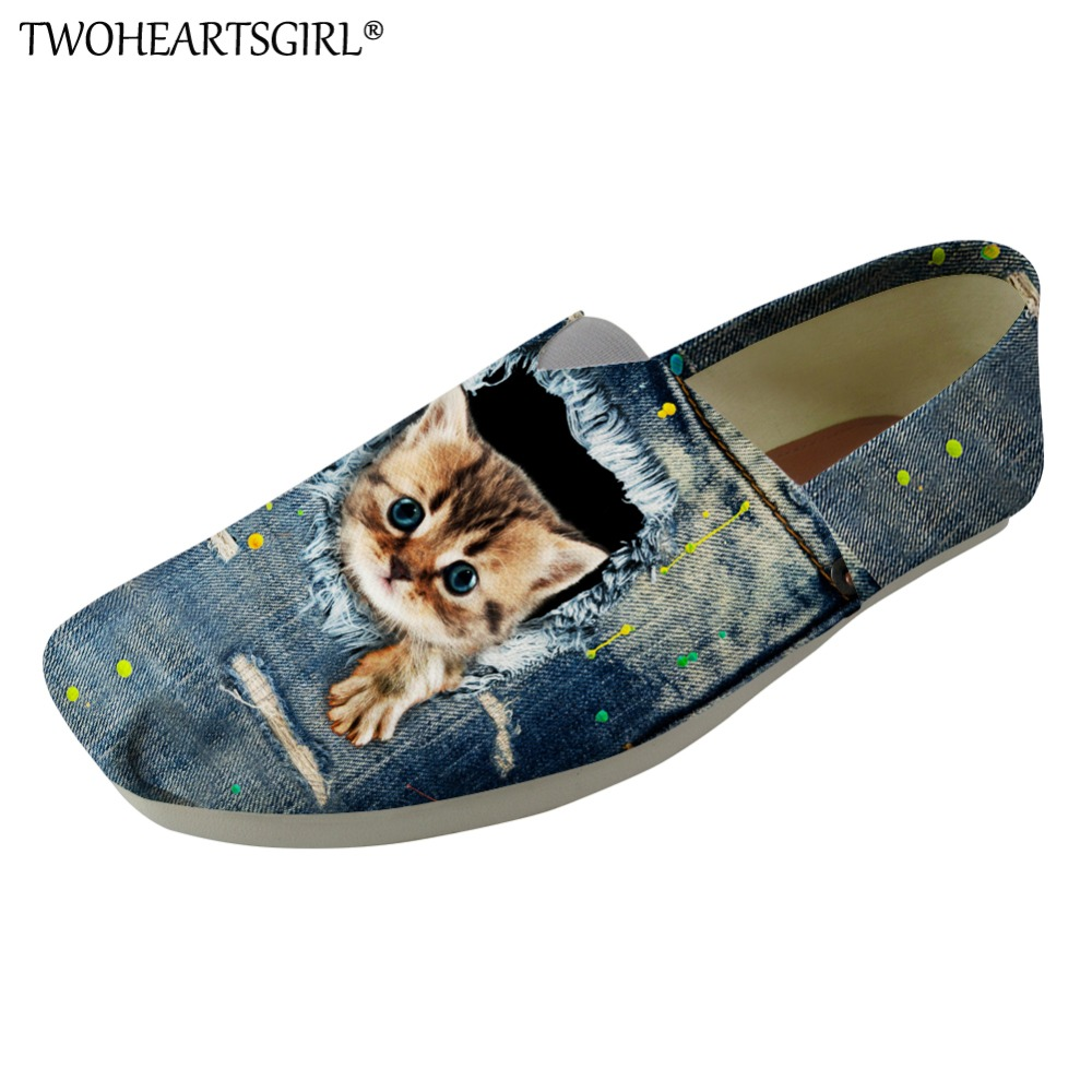 Twoheartsgirl Special Denim Cats Printing Casual Women Canvas Flats Shoes Slip on Summer Light Shoes Breathable