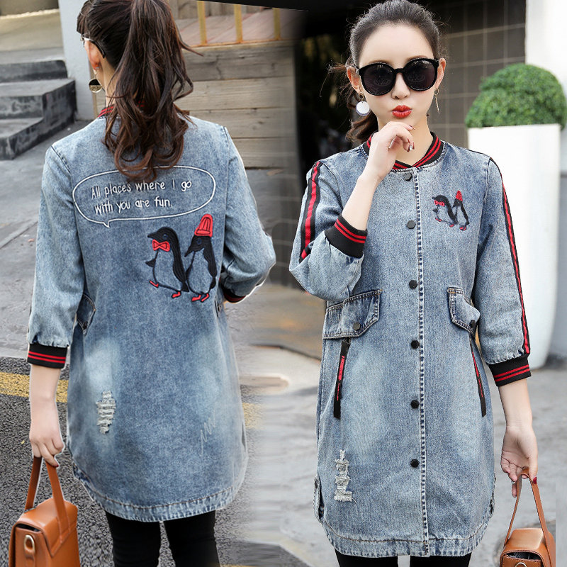 Spring   Basic     Jackets   Women Denim   Jacket   Coat Long Ripped Denim   Jacket   Women Plus Size Jeans   Jacket   Women Tops