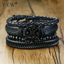 Vintage Rope Braided Multilayer Leather Bracelet Wood Beaded Vessel Rudder Punk Casul Male Wristbands Adjustable Length