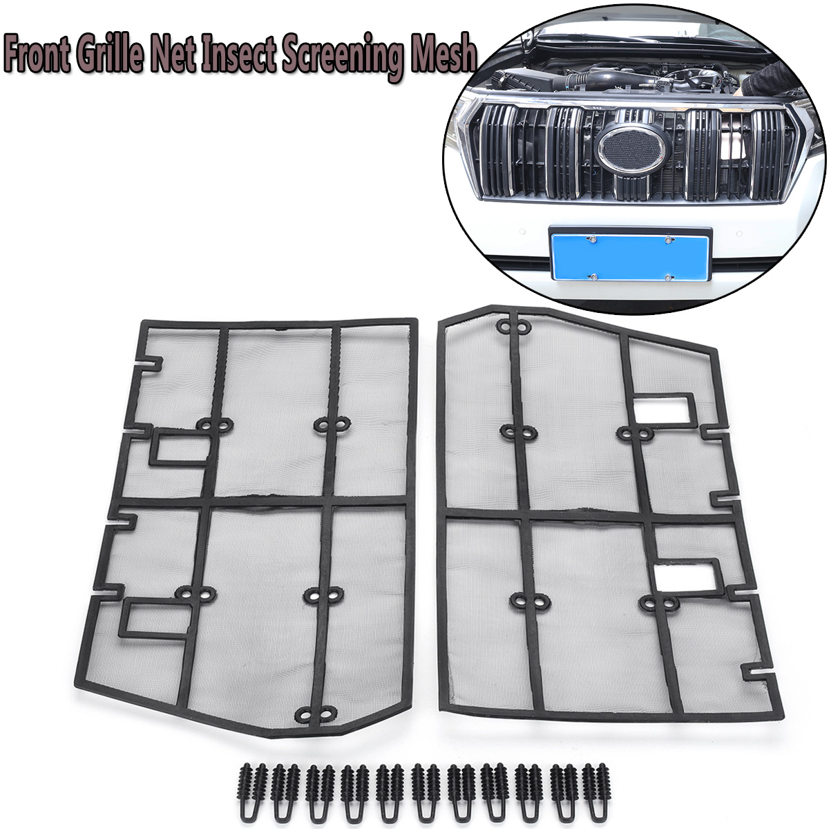 Closeout Car Front Grille Net Insect Screening Mesh For Toyota Land Cruiser Accessories Prado 2018 Exterior