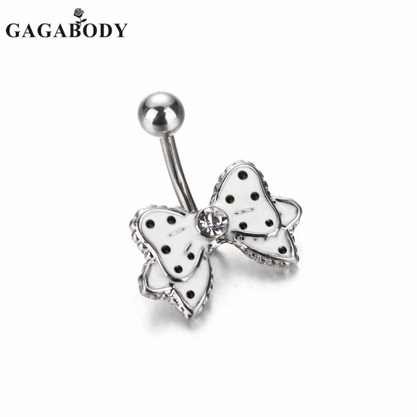 1PC Bowknot Belly Ring Dangle 316L Surgical Steel White Bow Dangle Navel Belly Button Ring Bar With Black Dot