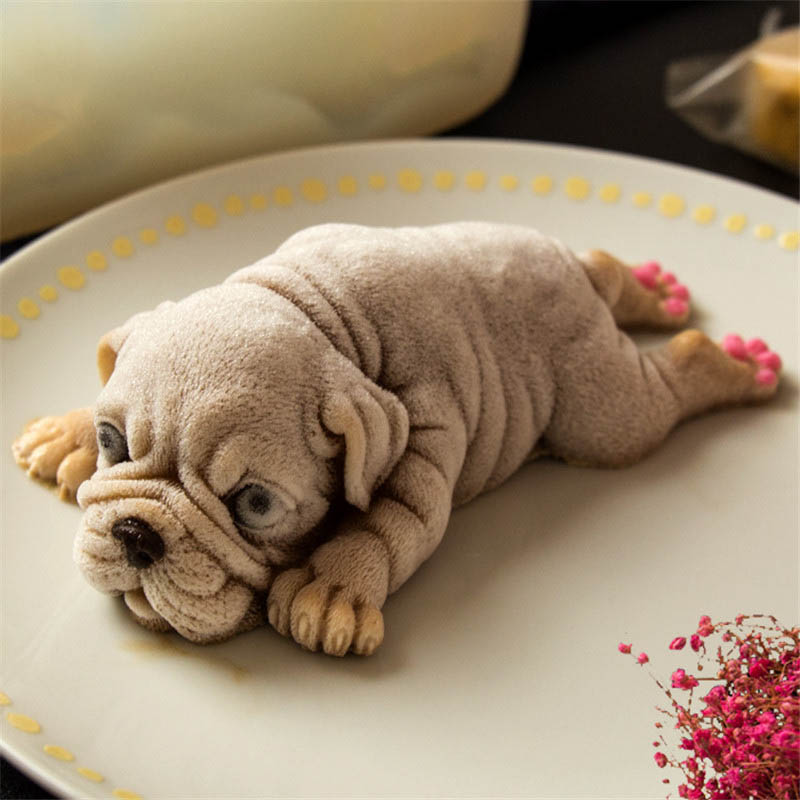 Memokey 1pcs Cute Dog Silicone Mold Mousse Cake 3D Shar Pei Mould Ice Cream Pudding Blast Chilling Tools Fondant Decoration B in Cake Molds from Home Garden