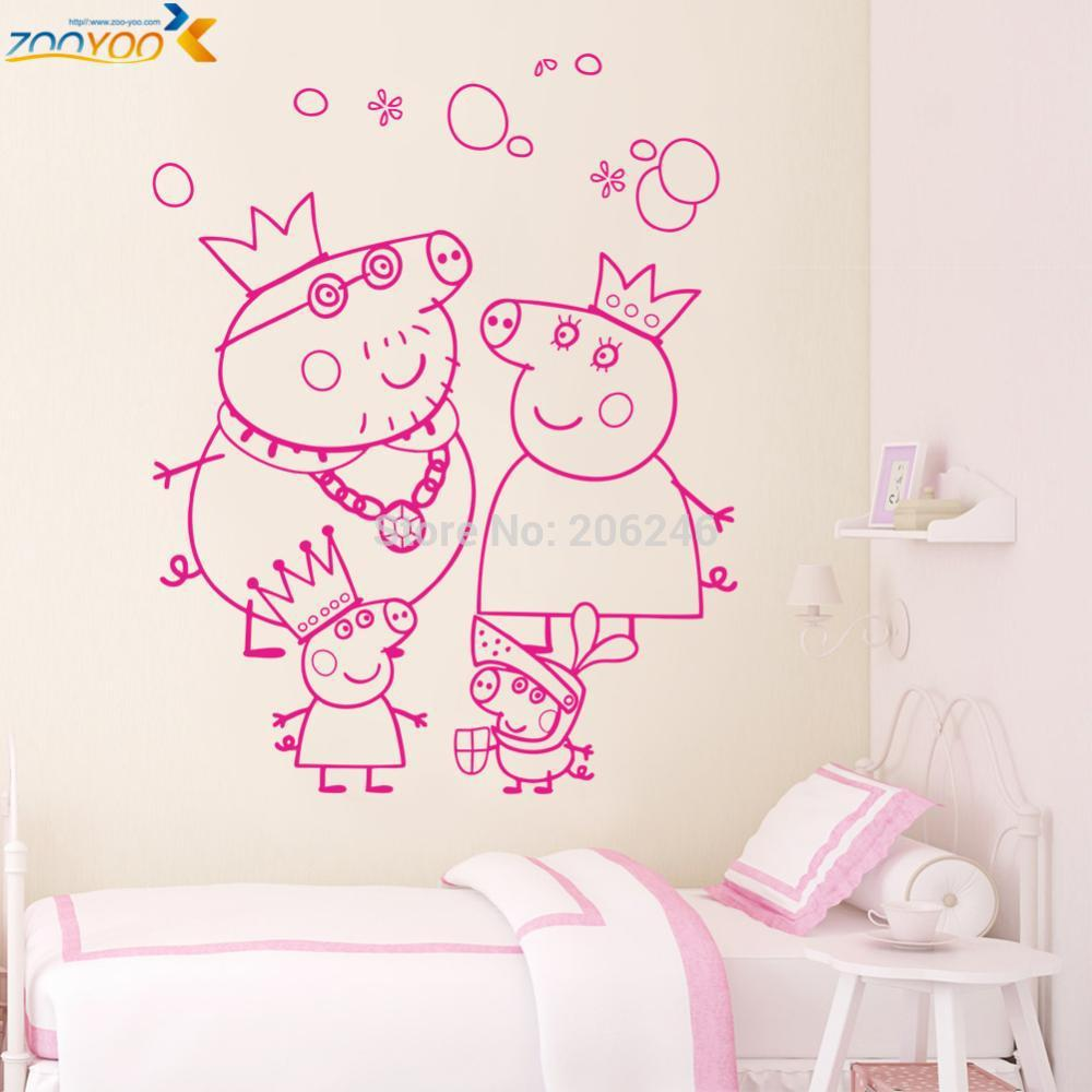 Peppa pig wall stickers home design aliexpress buy peppa pig wall decals home decoration girls room diy removable vinyl amipublicfo Images