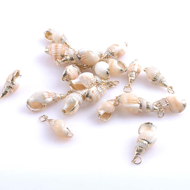 Natural Sea Shell Charm Rose Gold Plated Jewelry Craft Making Accessories 10pcs 25-28mm TRS0158