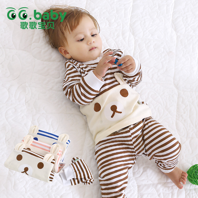 Newborn Baby Boy Clothes 2pcs Set Striped Cartoon Bear Long Sleeve Autumn Christmas Infant Baby Girl Sets Winter Clothing Outfit newborn baby boys clothing sets baby girls clothes cartoon aircraft blue whale short sleeve infant cotton underwear 2pcs set