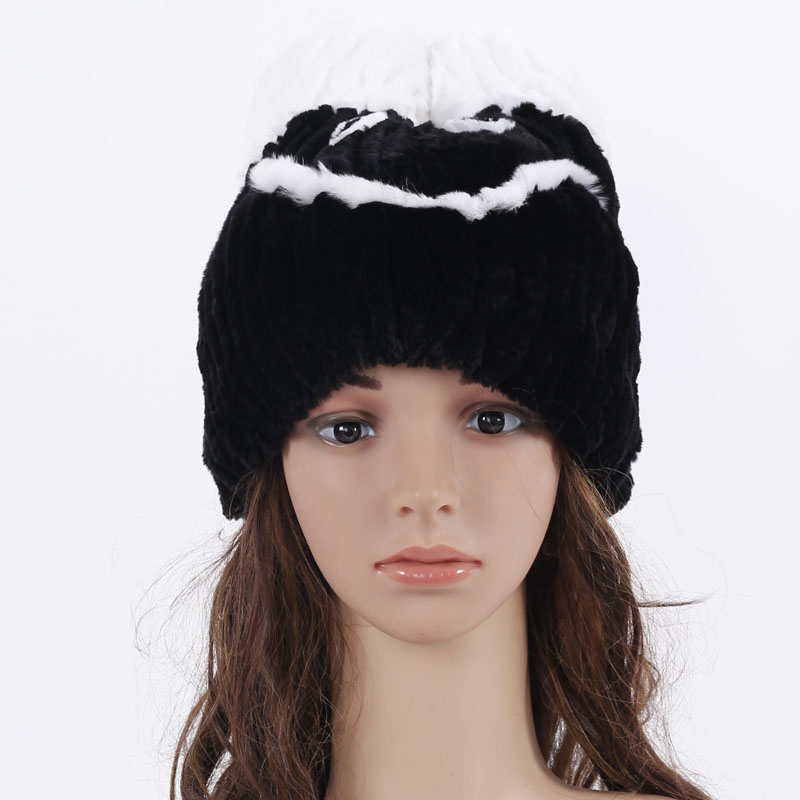 ФОТО New Design Hat for women rabbit fur hat with smile face Woolen Female Elastic Knitted Caps