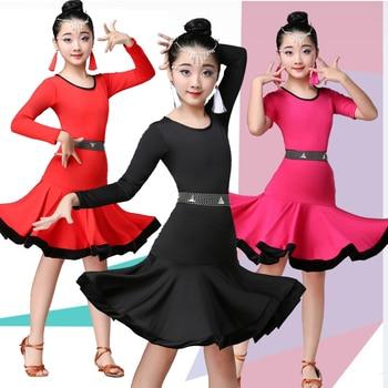 Vestido de baile latino para niñas de manga corta de práctica de baile falda Latina baile rendimiento ropa Latina práctica falda