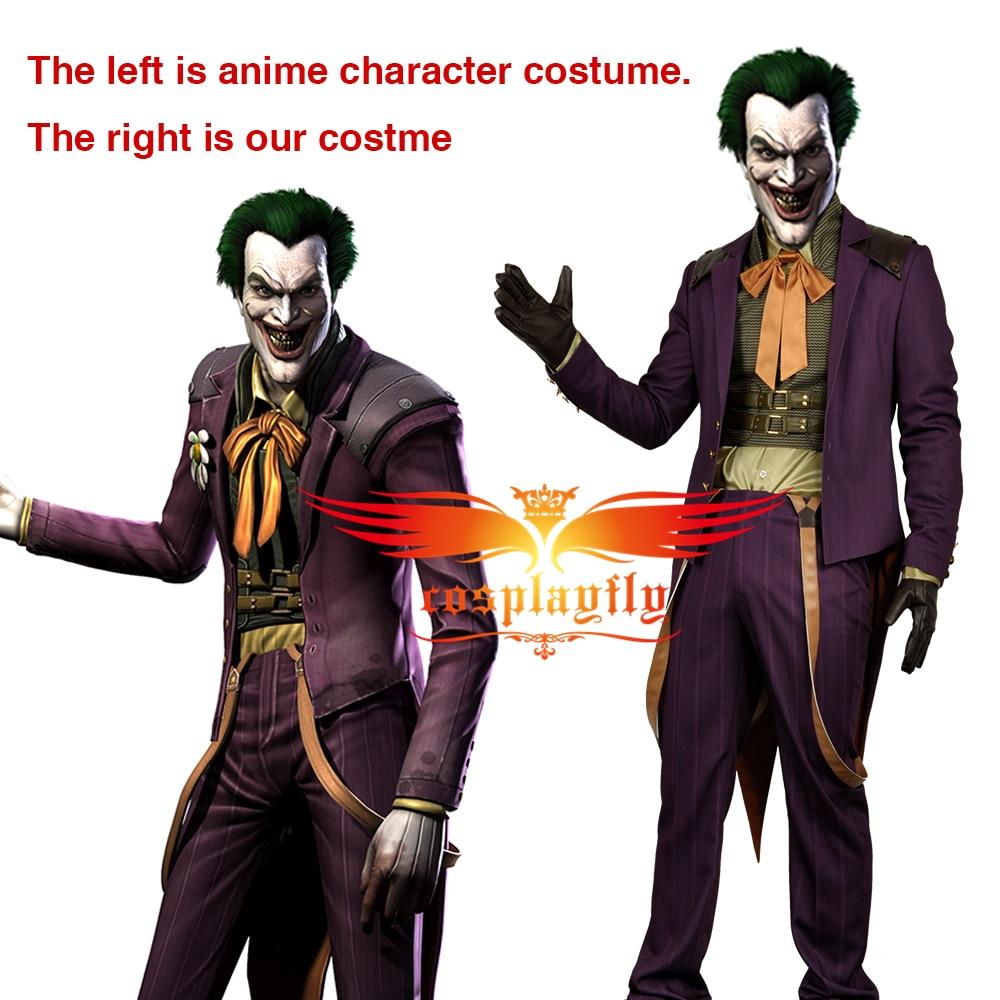 Injustice God Among Us Joker Battle Christmas Outfit Purple Coat Vest Shirt Pants Cosplay Costume Adult