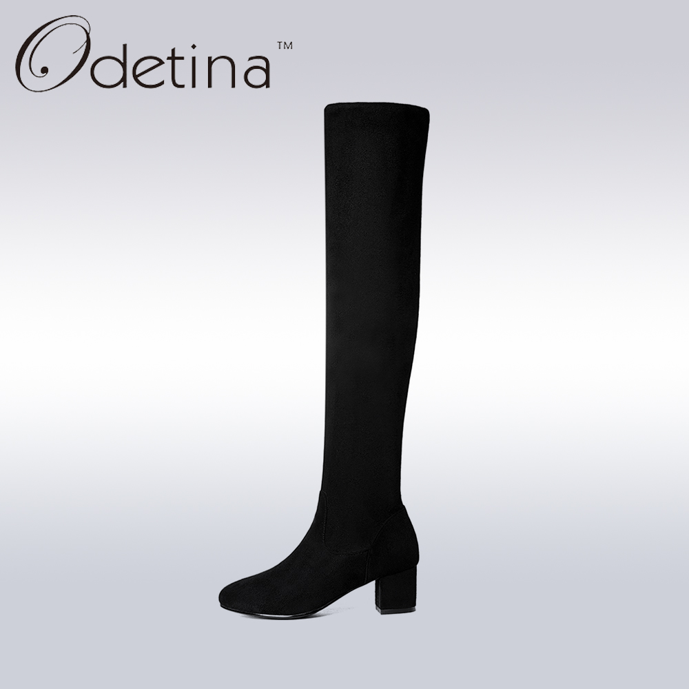 Odetina 2017 New Handmade Large Size Black Womens Knee High Boots Suede Slip on Pointed Toe Long Boots Ladies Chunky Heel Solid calvin klein new black white colorblock womens size large l crewneck sweater $79