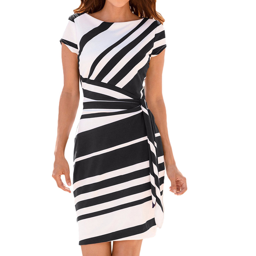FeiTong O neck stripe sash summer office dress women Wrap style pencil short dress 2019 Streetwear casual dress female vestidos short dresses office wear