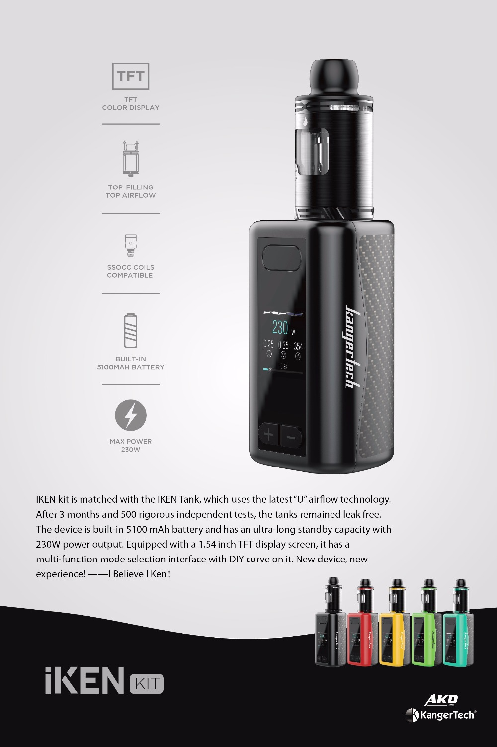 Original Kanger IKEN Kit 230W Built-in 5100mAh battery with 4ML Tank Electronic Cigarette Vape Kit IKEN Box MOD