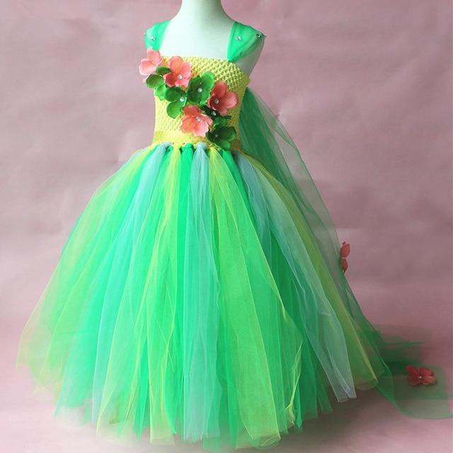 Green Flower Tutu Dress Children Girls Cosplay Princess Elsa Dress Kids Christmas Halloween Costume Girl Birthday Party Dresses