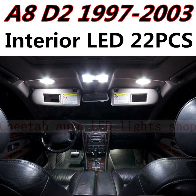 Tcart 22pcs  free shipping Error Free Auto LED Bulbs Car Interior Lights Kit Reading Lamps For Audi A8 D2 accessories 1997-2003 art deco desk lamps 1 e27 bulbs 40w wooden reading lights free shipping
