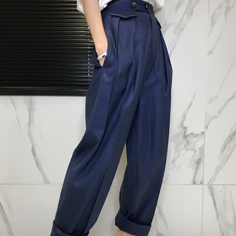 LANMREM 2018 New Fashion Loose Button Solid Flat   Wide     Leg     Pants   Casual Women spring Hot Sale Trendy High Quality Bottoms BD146