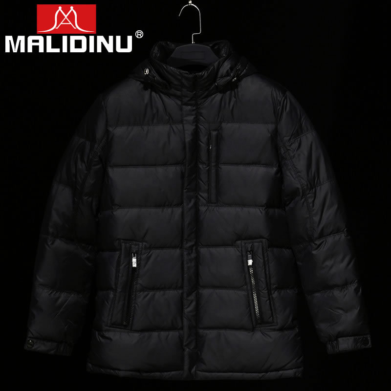 MALIDINU 2018 Men Fashion Duck Down Jacket Brand Thick Down Jacket Men Winter Coat Jackets Hooded Zipper Rib Cuff Free Shipping