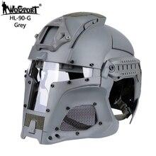 Полностью покрытый тактический шлем с сетчатой маской PC объектив стрельба Пейнтбол страйкбол шлем для боевых военных аксессуаров