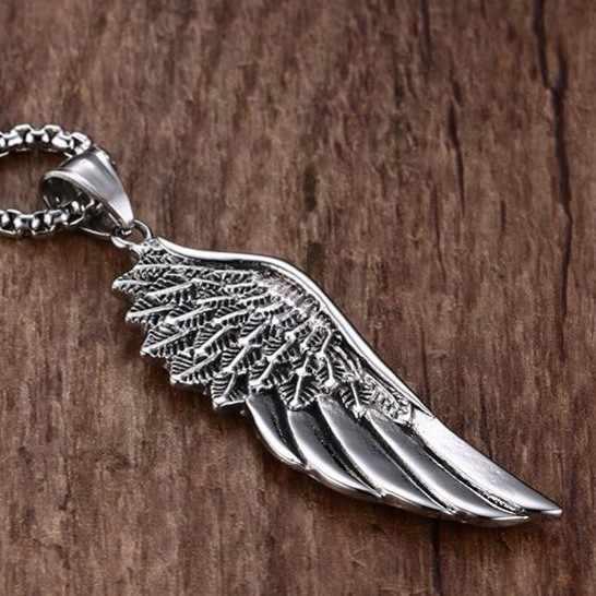Meaeguet 펑크 가드 목걸이 펜던트 남성용 스테인레스 스틸 박스 체인 수호 천사 날개 목걸이 콜리어 선물