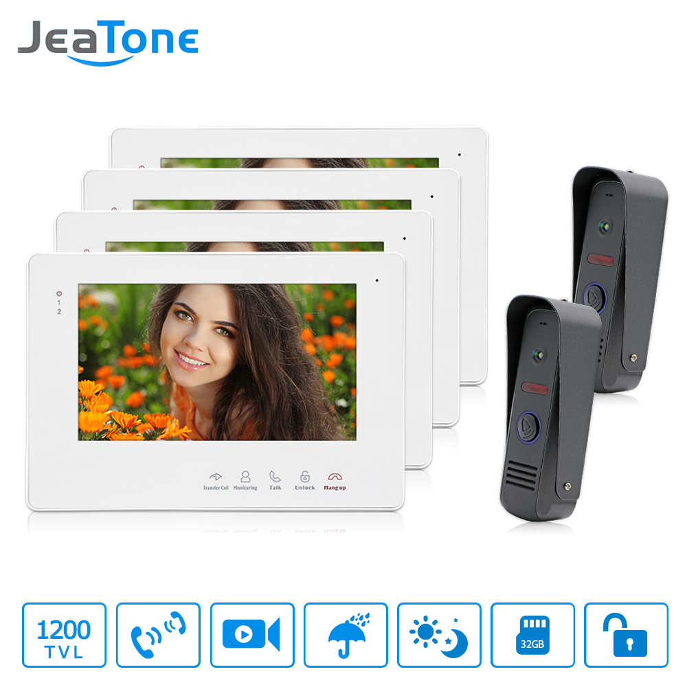 JeaTone 7 TFT LCD Waterproof Video Door Phone Intercom System 1200TVL Night Vision Camera Video Recording Monitor Home Security 7inch video door phone intercom system for 5apartment tft lcd screen 5 flat indoor monitor with night vision cmos outdoor camera
