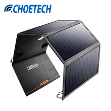 CHOETECH 24W Portable Solar Power Bank Phone Charger Solar Panel Port External Battery with Dual USB for iPhone Samsung Xiaomi