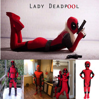 Men Women Kids Unisex Adult Deadpool Red Fullbody Superhero Cosplay Costume Tights Zentai Jumpsuits Belt Sword