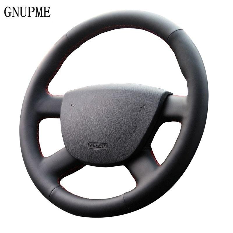 GNUPME черный натуральная кожа Автомобильный руль Крышка для Ford Focus 2 2016-2005 Специальные Ручные Прошитые рулевые крышки