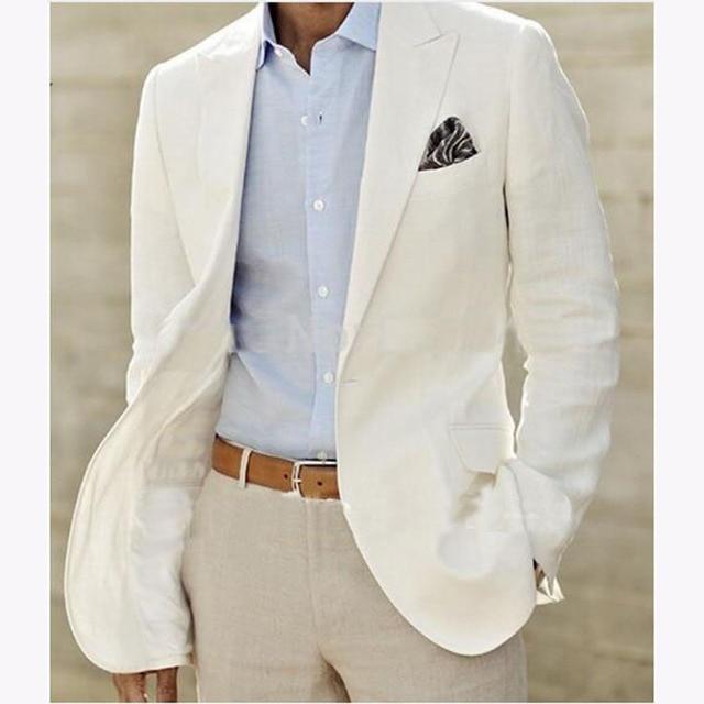 Lino avorio Vestito Su misura Da Uomo Bianco Biancheria Giacca E Pantaloni  Mens Abiti di Lino c246a1372cf