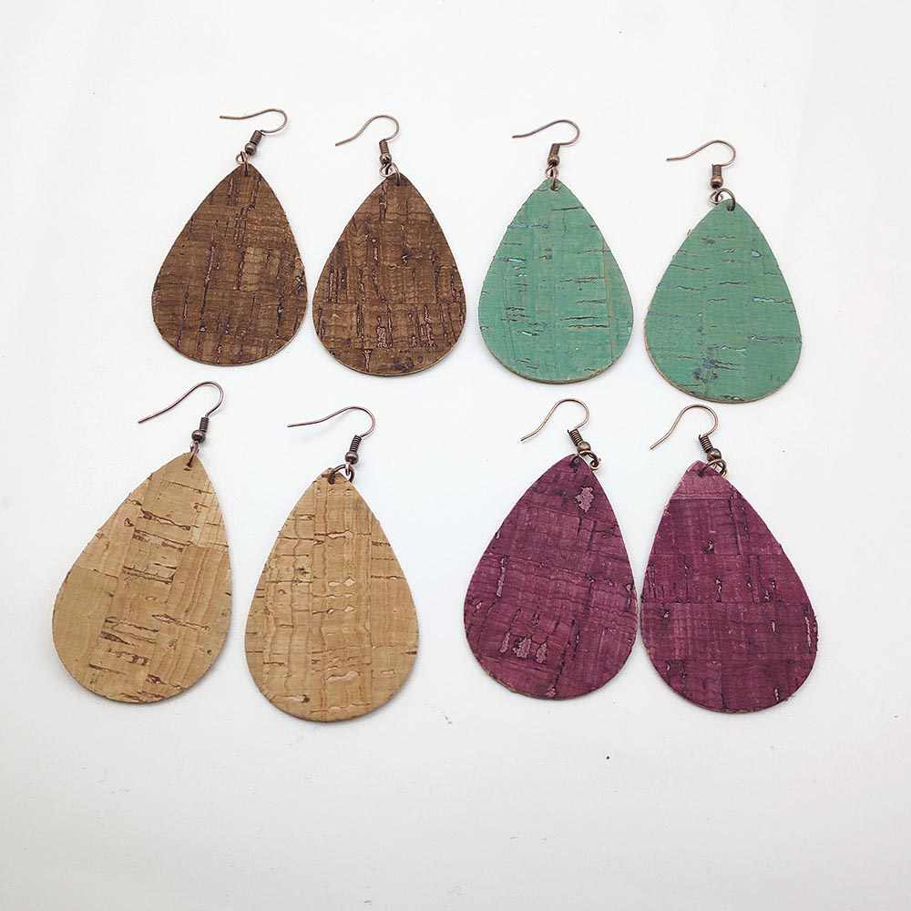 Vintage Jewelry 4 Color PU Leather Earrings Wood Imitation Earrings drop earrings for women Wedding Jewelry Drop Earrings W255