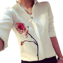 Newly Autumn Women Fashion White Long Sleeve Rose Flower Printed Shirt Casual Lady Turn Down Collar Chiffon Shirts Blouse Oct1