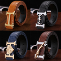 2016 Stylist belt man H letter smooth buckle crocodile embossed cowhide leather casual Z belt Korean genuine leather belt