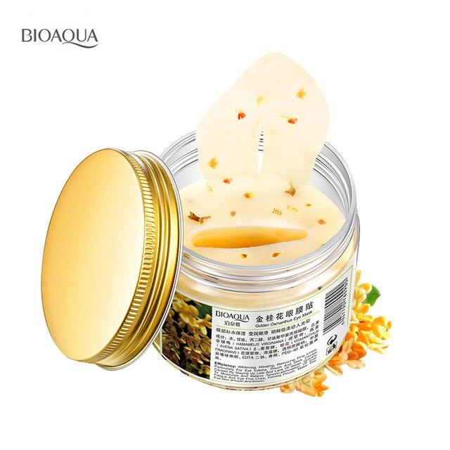 80 stücke/flasche BIOAQUA Gold Osmanthus augenmaske frauen Kollagen gel whey protein gesichtspflege schlaf flecken gesundheit mascaras de dormir