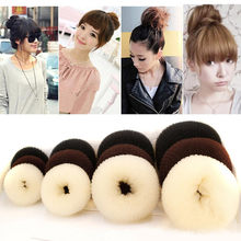 4 Sizes Hair Styling Ring Style Dispenser Buns Head Tool Hair Ring hair accessories for women haarbanden scrunchie(China)