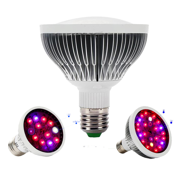 Rayway 12W 24W LED Grow Light Bulb Red Blue UV IR White E27 Par20 ...