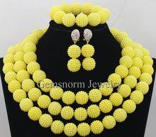 Nigerian Big Yellow Beads Jewelry Set 2015 Fashion African Yellow Beads Jewelry Set Chunky Balls Necklace Set Free Ship WB866