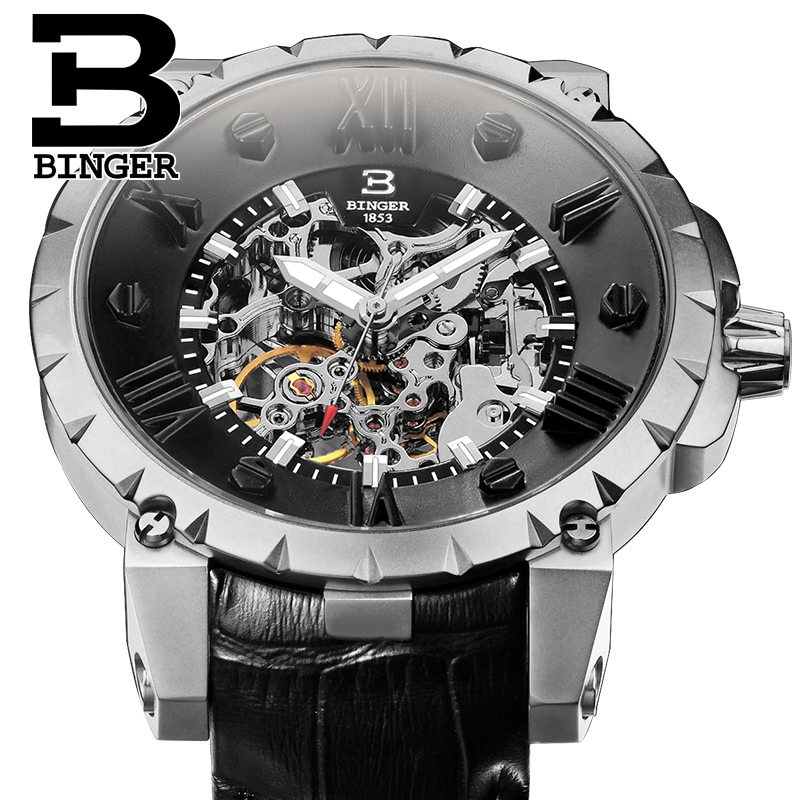 Top Hot BINGE Watches Men Luxury Brand Mechanical Hand wind Full Stainless steel Wristwatches water resistant Luminous Clock binge elec 16 buttons remote controller 433 92mhz only work as binge elec remote touch switch hot sale