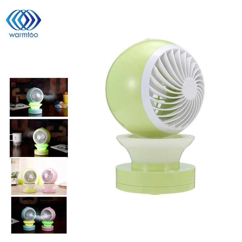 1Pcs Mini Air Conditional Fan Support Humidifier With Night Light USB Rechargeable Water Mist Fan Portable for Home Office air humidifier with night light mini fan usb rechargeable water mist fan air conditioner fan office home table pedestal cooling