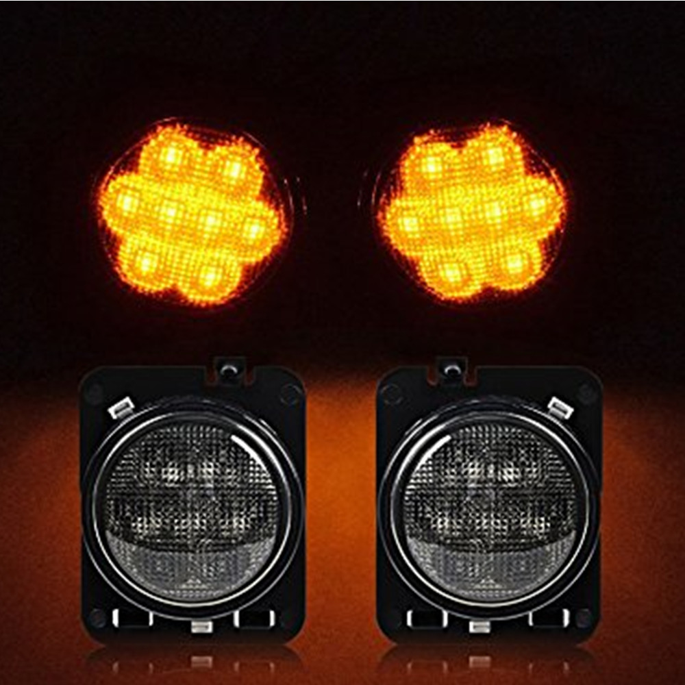 2 PCS LED Side Maker Lights for Jeep Wrangler JK Amber Front Fender Flares Parking Turn Lamp Bulb Indicator Lens for jeep wrangler jk anti rust hard steel front