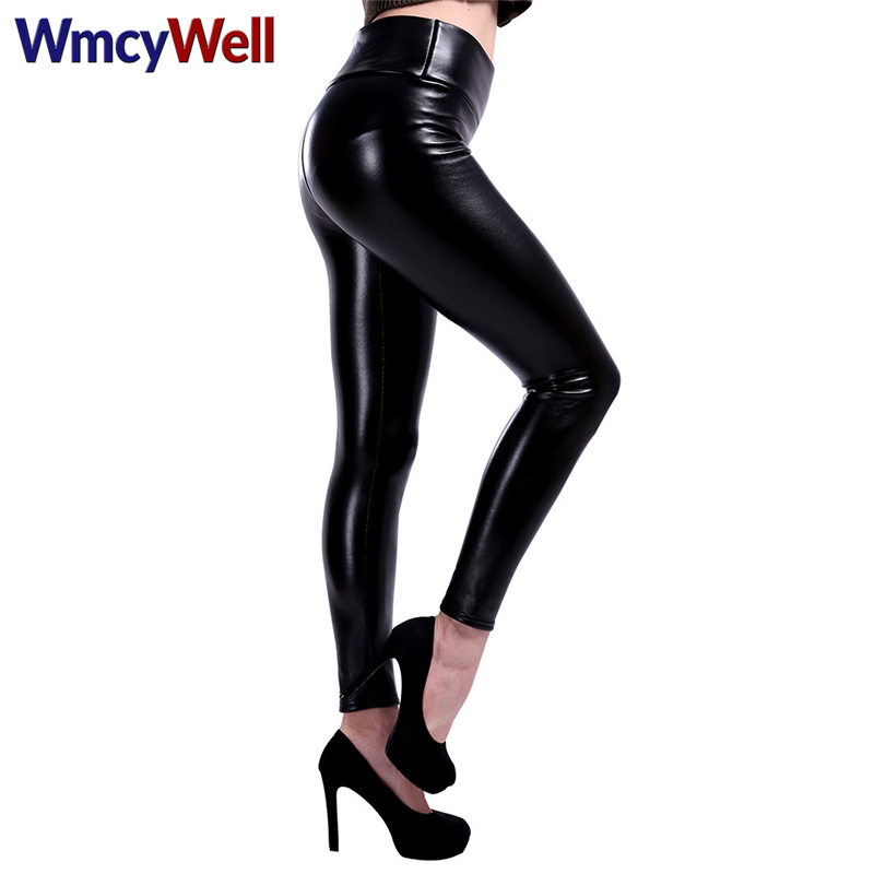 WmcyWell Sexy Women Faux Leather pants Leggings Winter Warm Thick High Waist Ankle-length Plus Size Velvet Female Pants S-5XL