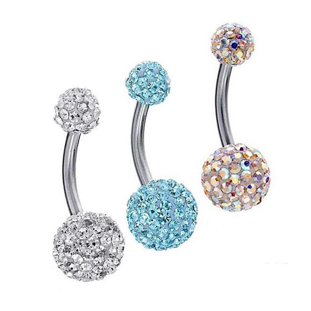 1 Pza Piercings de acero cristal para el ombligo, Piercing Sexy para el ombligo, pendiente de ombligo, joyería redonda para el cuerpo