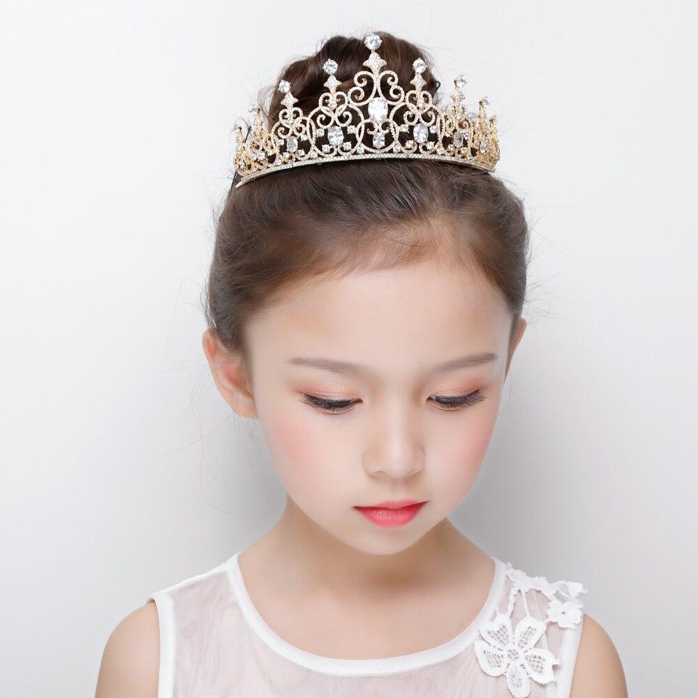 Bandeau de couronne de Zircon de couleur or de luxe Micro incrustations Zircon cubique princesse Coronet diadème bijoux de cheveux pour les filles de fête de mariage